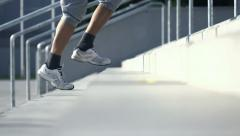 Man jogging up on stairs in the city, super slow motion, shot at 480fps HD Stock Footage