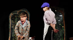 School play, show, very young actors on stage, children, performers, theater Stock Footage