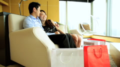 Young Asian Chinese Male Female Hotel Vacation Travel Retail Shopping Stock Footage