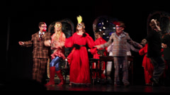 Theatrical performance, teenagers performing, actors dancing on stage, costumes Stock Footage