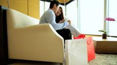 Designer Shopping Male Female Heterosexual Couple Wealth Luxury Hotel Stock Footage