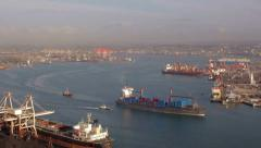 Timelapse of Large Container Ship, Assisted by Tugboats in Durban Harbour Stock Footage