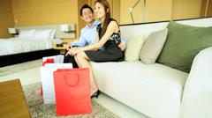 Designer Shopping Male Female Heterosexual Couple Wealth Luxury Hotel - stock footage
