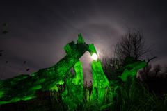 Burned tree - night full moon landscape Stock Photos