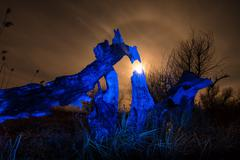 burned tree -in blue light at night full moon,stars and mystyc landscape - stock photo