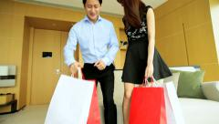 Asian Chinese Heterosexual Couple Fashion Shopping Hotel Travel Stock Footage