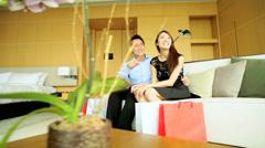 Asian Chinese Heterosexual Couple Fashion Shopping Hotel Travel Stock Footage