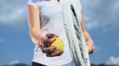 Preparing for tennis serve low angle slow motion Stock Footage