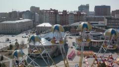 Stock footage aerial view Ferris wheel Tyumen Russia Stock Footage