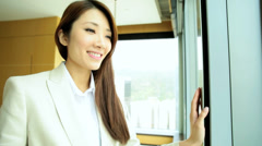 American Asian Chinese Female Financial Consultant Business Travel Hotel - stock footage