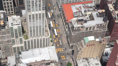 Manhattan, NYC Aerial midtown traffic birds eye view, sunny day, no logos Stock Footage