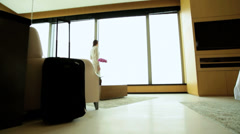 Female Asian Chinese Business Traveller Luxury Penthouse Accommodation Stock Footage
