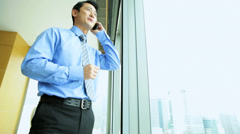 Male Ethnic Asian Chinese Corporate Executive Luxury Hotel Smart Phone - stock footage