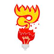 Stock Illustration of cartoon red light bulb exploding