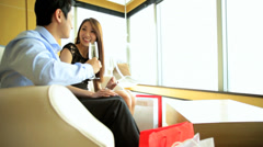 Attractive Asian Chinese Couple Travel Hotel Vacation Leisure Shopping Wine Stock Footage