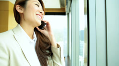 Female Business Advisor Luxury Apartment Smart Phone Conversation Stock Footage
