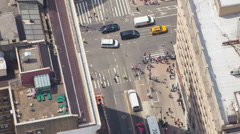 Manhattan, NYC Aerial, midtown traffic rooftop sun bathers, close up Stock Footage