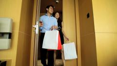Heterosexual Asian Chinese Couple Fashion Shopping Hotel Travel - stock footage