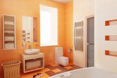ogange bahtroom interior - stock photo