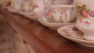 Stock Video Footage of Vintage china tea cups