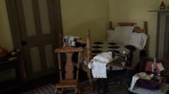Cove Fort pioneer historic womans bedroom HD Stock Footage