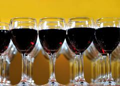 vine glass arangement in restaurant - stock photo