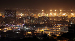 Timelapse of Durban City Night Traffic Harbour | Durban Stock Footage Stock Footage
