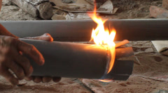 Worker burn plastic pipe Stock Footage