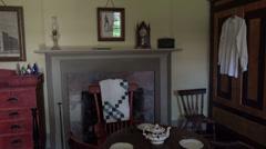 Cove Fort Utah historic pioneer bedroom fireplace HD Stock Footage