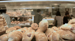 Savory pastries baked business Japanese Bakery travel Tokyo Stock Footage
