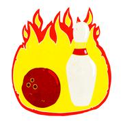 ten pin bowling cartoon symbol with fire - stock illustration