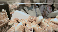 Savory pastries baked business Japanese Bakery travel Tokyo - stock footage