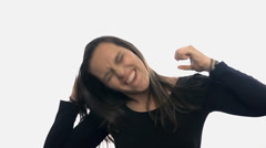 Woman over-excited on white background slow motion - stock footage