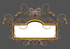 Elegant frame with heart and decorated with flowers and beads - stock illustration