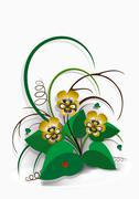 Delicate bouquet of yellow pansies on  white background - stock illustration