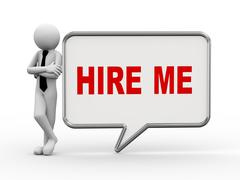 3d businessman with speech bubble - hire me Stock Illustration