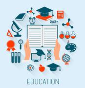 flat design concept icons for education. e-learning concept. vector - stock illustration