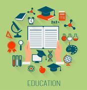Stock Illustration of flat design concept icons for education. e-learning concept. vector