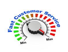 3d knob - fast customer suppor - stock illustration