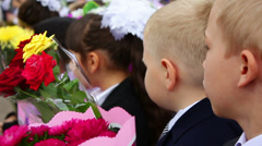 First-graders With Flowers Stock Footage