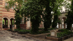 BUDAPEST SYNAGOGUE BACKYARD CEMETERY 1 LS Stock Footage