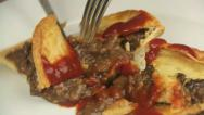 Stock Video Footage of Cutting Meat Pie With Ketchup