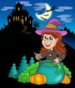 Wizard girl with haunted house Stock Illustration