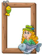 Wooden frame with fisherwoman Stock Illustration