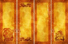 Banners with American Indian traditional patterns Stock Illustration