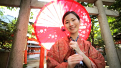 Female Asian Japanese Culture Kimono Parasol Clothing Tourism Japan Travel Stock Footage