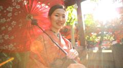 Portrait Female Asian Japanese Traditional Kimono Parasol Outdoors Stock Footage