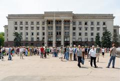 Memorial service in Odessa devoted to the victims of 2 May 2014 clashes Stock Photos