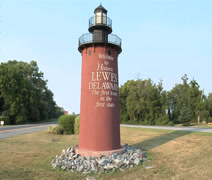 Lewes Lighthouse Welcome Sign in Lewes Delaware Stock Footage