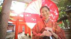 Asian Japanese Girl Traditional Kimono Outdoors Gardens Buddhist Temple Stock Footage